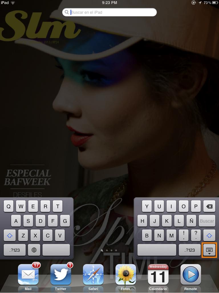 Dividir el teclado (iPad)