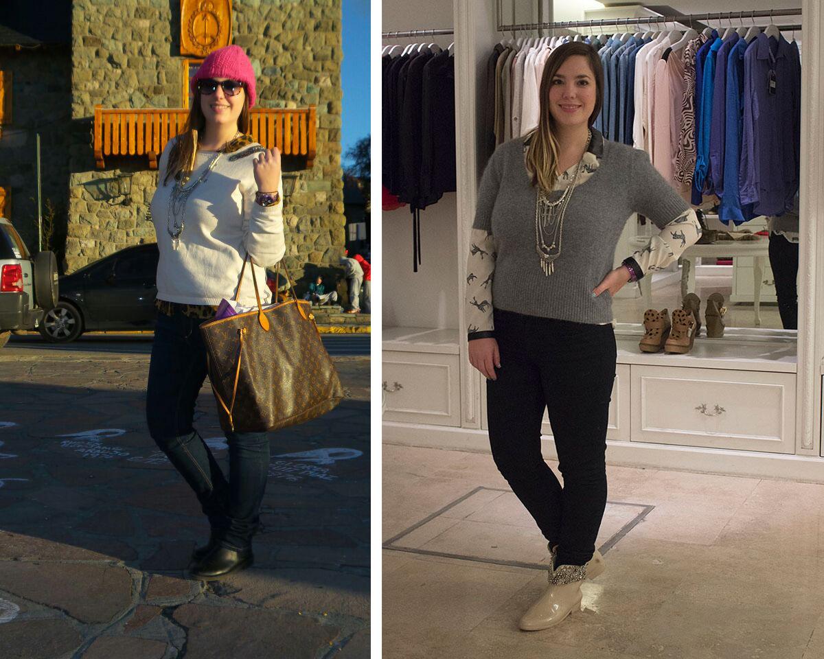 zq. Jeans, sweater y botitas: H&M. Blusa animal print: Mon Lorie. Cartera: Louis Vuitton. Reloj: Swatch. Gafas: Infinit. Collar: Mes Lubies.  Der. Jeans: Jazmin Chebar. Blusa y sweater: Zara. Botitas: de feria en Miami. Collar: Mes Lubies.