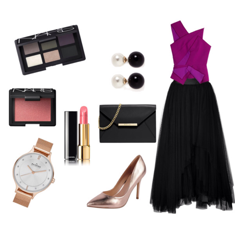 Get the look: Top, Roland Mouret. Maxifalda, Alberta Ferretti. Stilettos, Charles by Charles David Pact. Sobre, Michael Kors. Reloj, Skagen. Aros, Kenneth Jay Lane. Paleta Inoubliable Coup d'Oeil, Nars. Rubor Super Orgasm, Nars. Labial, Chanel.