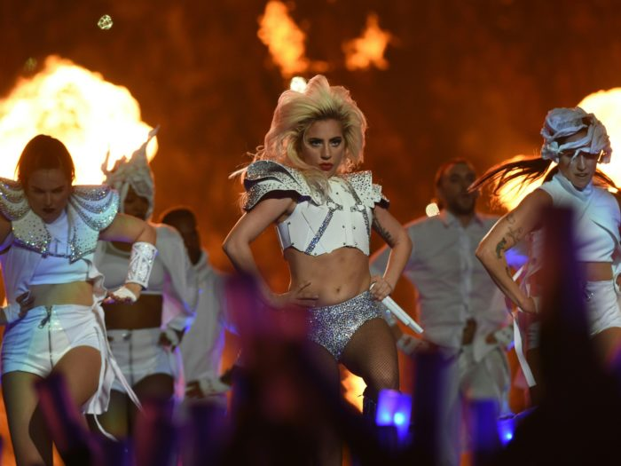 Singer Lady Gaga performs during the halftime show of Super Bowl LI at NGR Stadium in Houston, Texas, on February 5, 2017. / AFP / Timothy A. CLARY (Photo credit should read TIMOTHY A. CLARY/AFP/Getty Images)